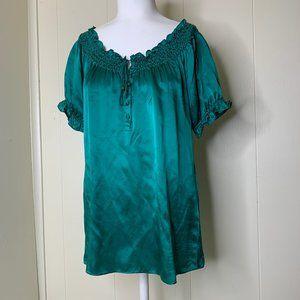 Joie Emerald Green Beaded 100% Silk Blouse Top M